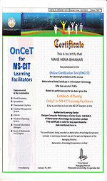 Certificate of OnCet MSCIT